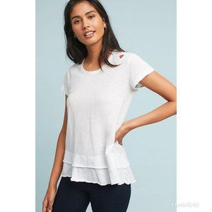 NWT Sundry Anthropologie White Tiered Heart Tee